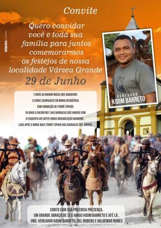 Vereador Kidim Barreto convida a população para os festejos de São Pedro em Várzea Grande