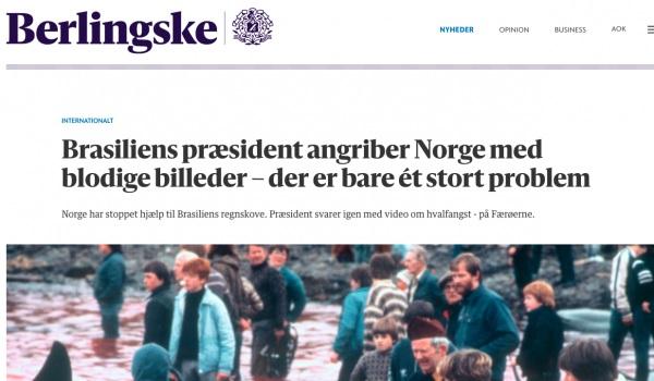"""""""FAKE NEWS É CRIME"""": na Dinamarca, um dos maiores jornais satiriza Bolsonaro por vídeo das baleias """"da Noruega"""""""
